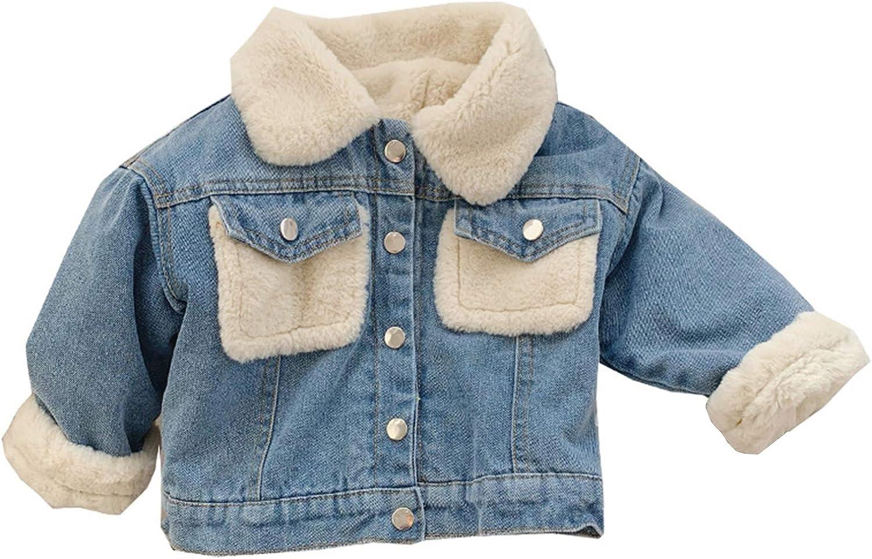 Moru Infant Baby Toddler Girl Boy Winter Casual Thick Fleece Lined Denim Jacket Warm Jean Coat Outwear