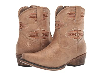 Roper Shay Aztec (Tan Faux Leather/Aztec Embroidered) Cowboy Boots