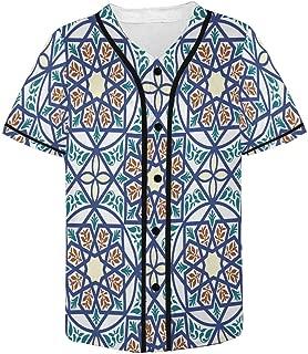 INTERESTPRINT Men's Baseball Jersey Button Down T Shirts