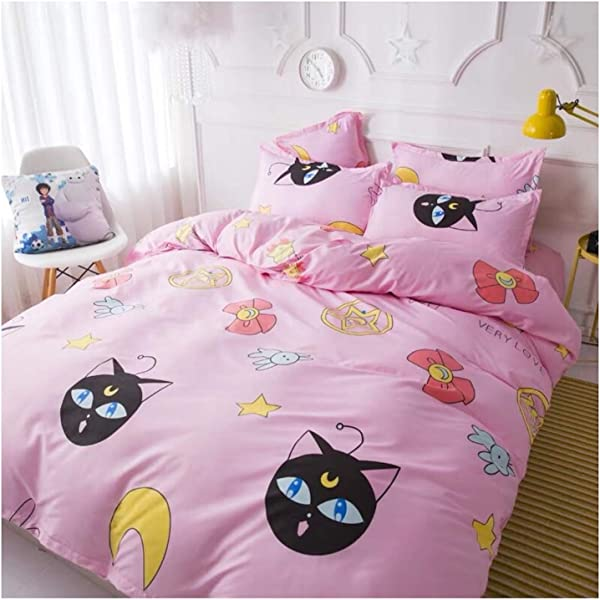 Peachy Baby Featuring Sailor Moon Bedding Sheet Set Free Express Shipping Single Twin Queen Double Full King Size 3 And 4 Pieces Pink Cute Cartoon Animate Girly Queen Size