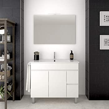PDM Mueble de baño TEMIS con Espejo y Lavabo - 2 cajones con Tirador Gola y Espacio de almacenaje con Puerta. Toallero de Regalo - Blanco(70CM): Amazon.es: Hogar