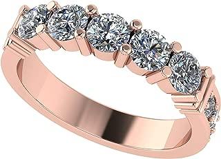 NANA Simulated Diamond Ring, Round Swarovski Zirconia Sterling Silver or 10k Gold Anniversary Ring, Simulated Diamond wedding band, Wedding Engagement Band