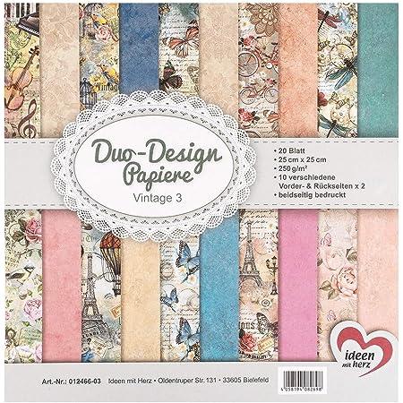 Ideen mit Herz Papiers décoratifs Duo-Design   Bloc de 20 Feuilles de Papier Craft   25 x 25 cm   250g/m²   imprimées Recto-Verso   Papier Dessin à Motifs   idéal pour Scrapbooking (Vintage 03)