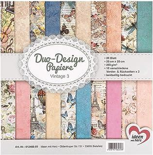 Ideen mit Herz Papiers décoratifs Duo-Design | Bloc de 20 Feuilles de Papier Craft | 25 x 25 cm | 250g/m² | imprimées Rect...