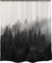 Ofat Home Foggy Forest Shower Curtain Black and White, Misty Trees National Park Mountain Cloud, Fabric Curtains for Bathroom, Waterproof 71x71 inch