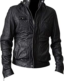 Mens MI 4 Ghost Cruise Biker Protocol Hooded Leather Jacket