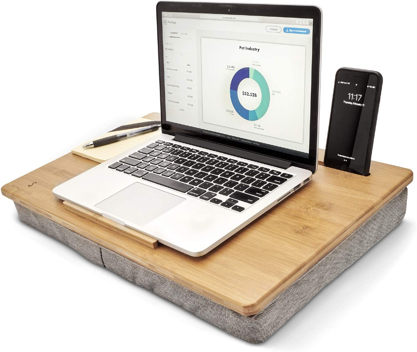 Lap Desk for Laptop with Cushion, Bamboo Workspace Organizer with Pillow Perfect for Bed, Couch and Working from Home.