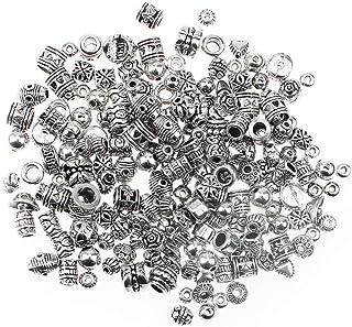 JPGhaha 100g Perles Intercalaires en Argent Tibétain en Alliage - Perles Argentées Antiques de Différente Forme - Spéciale...