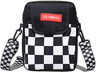 Danse Jupe Unisex Checkered Crossbody Bag Canvas Shoulder Cell Phone Pouch