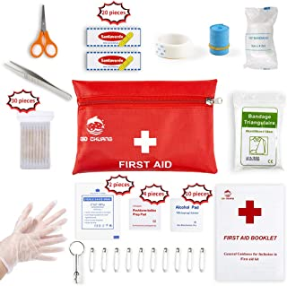 Small Travel First Aid Kit – 87 Piece Clean, Treat and Protect Most Injuries,Ready..