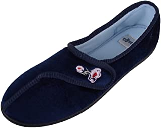 ABSOLUTE FOOTWEAR Womens Velour Style Slippers/Indoor Shoes with Ripper Fastening