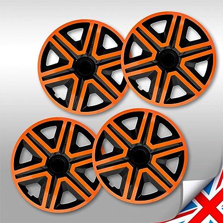 Universale Radkappen Radzierblenden Radblenden 14 Zoll Silver Orange Auto