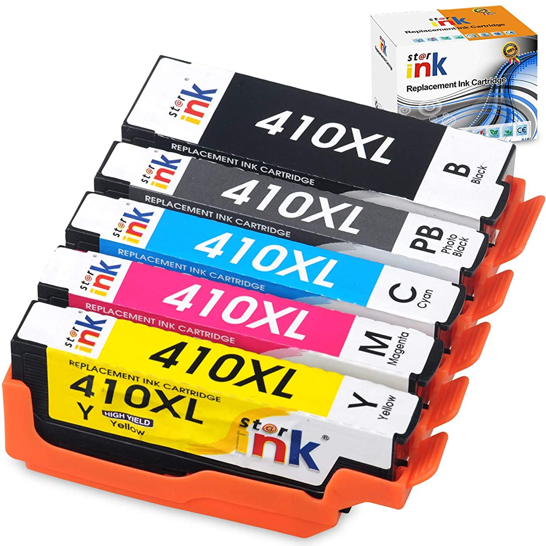 Starink Remanufactured Ink Cartridge Replacement for Epson 410XL 410 XL T410XL Work with Expression XP-7100 XP-530 XP-630 XP-635 XP-640 XP-830 Printer 5 Pack(Black, Cyan, Magenta, Yellow, Photo Black)