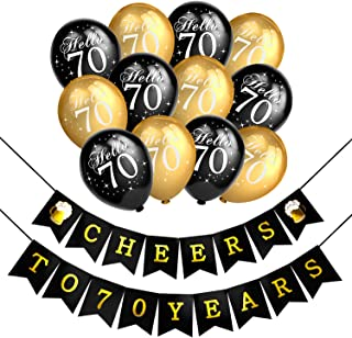 Konsait 70th Birthday Party Decorations Kit, Cheers to 70th Birthday Banner for Her Him, Celebration 70th Birthday Latex Balloons black and gold for 70 Years Old Party Decoration Supplies Favors