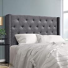 Queen Size Tufted Headboard, Fabric Upholsterd Bed Head, Grey