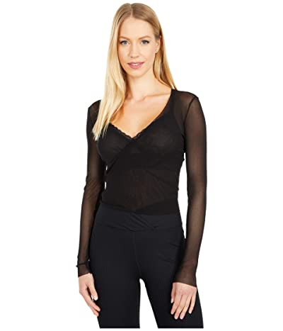 Only Hearts Tulle Long Sleeve Wrap (Black) Women