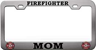 Custom Brother - FIREFIGHTER MOM US Firefighter Chrome Steel Metal License Plate Frame Auto Car SUV Tag Holder