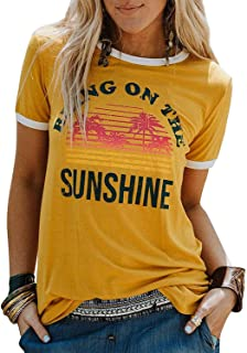 Enmeng Womens Bring On The Sunshine Printed T-Shirt Causal Christian Graphic Tees