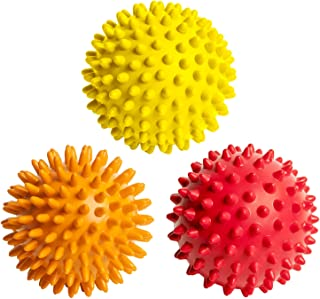 FitNext Spiky Massage Balls Feet, Back, Neck, Hands - 3 Spiked Body Massager Rollers for Plantar Fasciitis, Foot Fascia, Spikey Muscle Accu-Pressure Therapy, Exercise, Yoga - Hard, Medium, Soft Spikes
