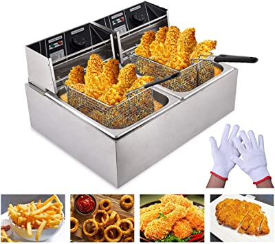 Peitten 8L+8L Electric Deep Fryer, 16L Commercial Deep Fryer with Basket & Lid & Temperature Lir, Upgrade Professional Frying Machine, Stainless Steel French Fryer for French Fries Fish Turkey