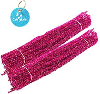 Caryko Tinsel Creative Arts Chenille Stems 6 mm x 12 Inch, Pack of 200 (Hot Pink)