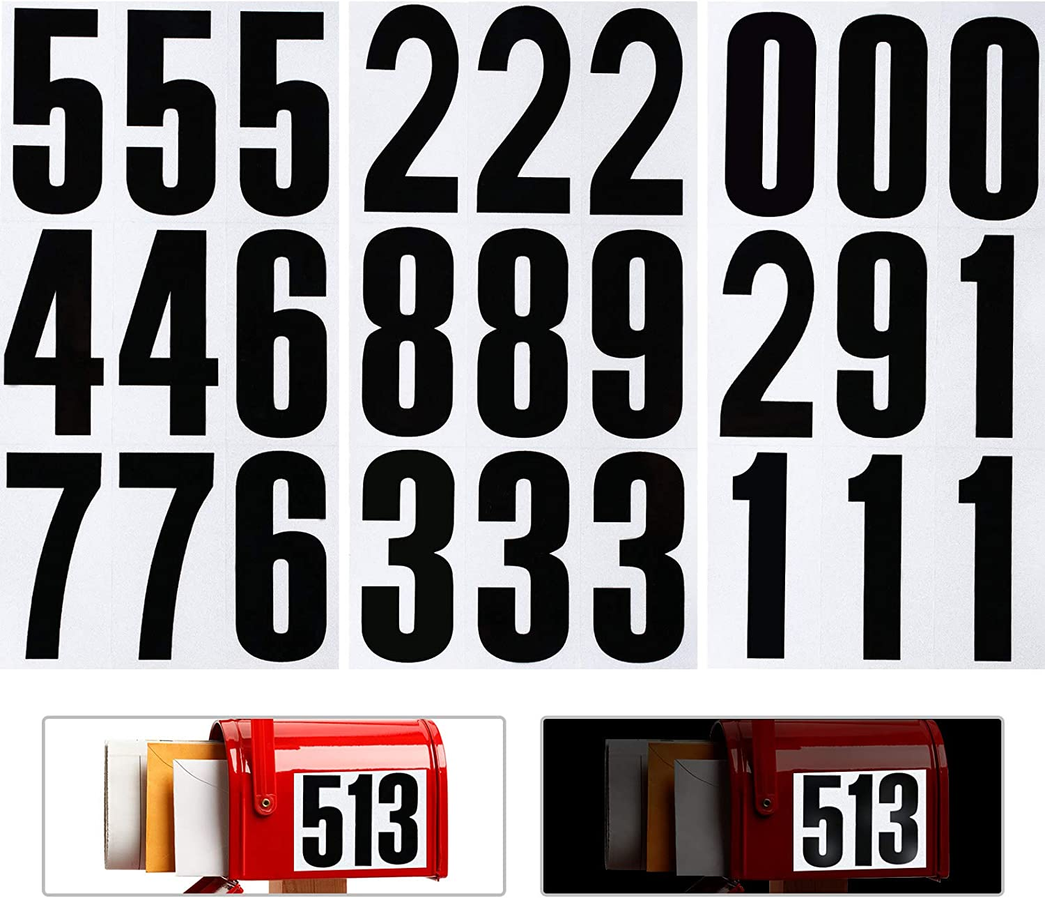 54 Chicago Mall Pieces Reflective Mailbox Number Numbe Sticker Super sale Waterproof 0-9