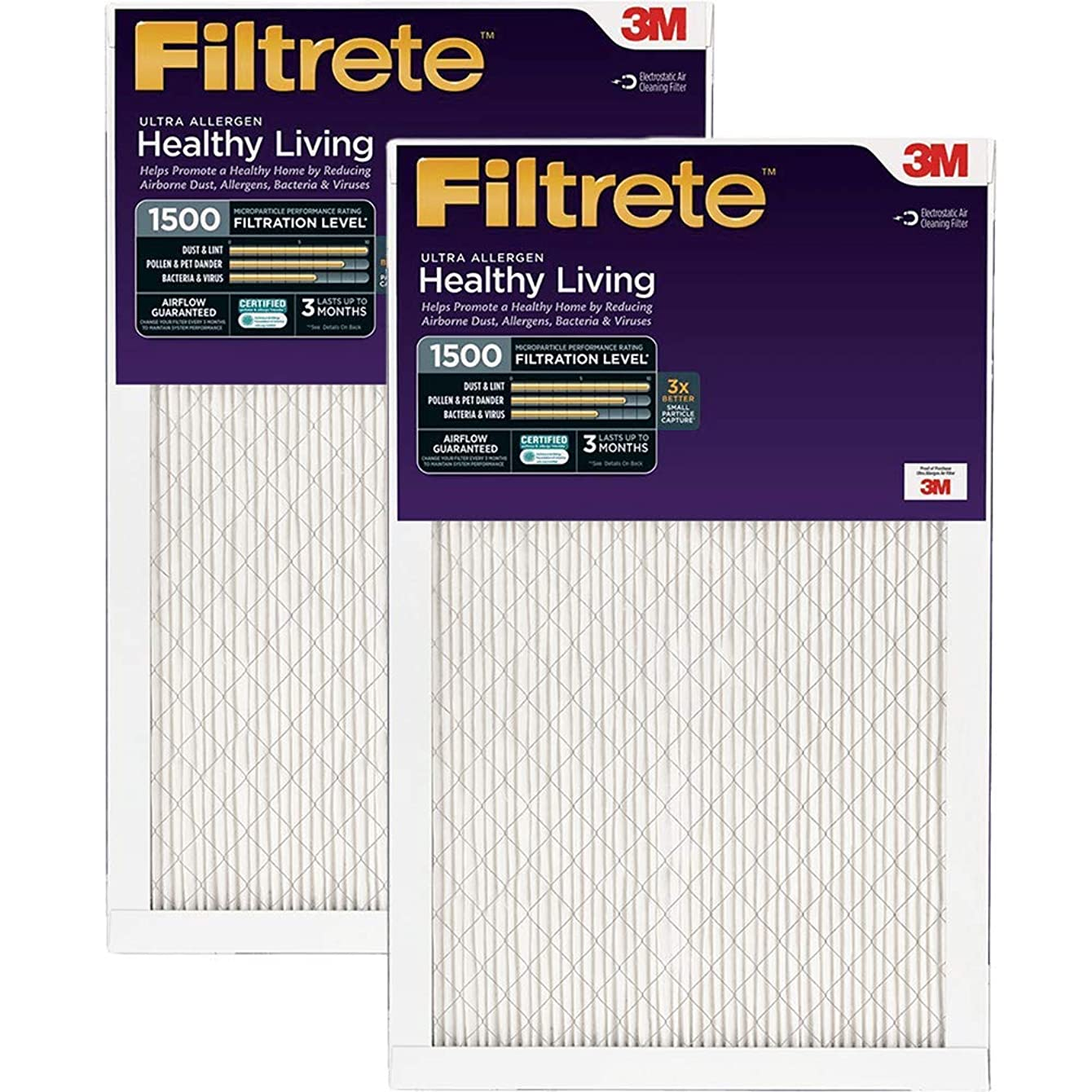 20x25x1 (19.6 x 24.6) Filtrete 1250 Ultra Allergen Filter by 3M (4 Pack)