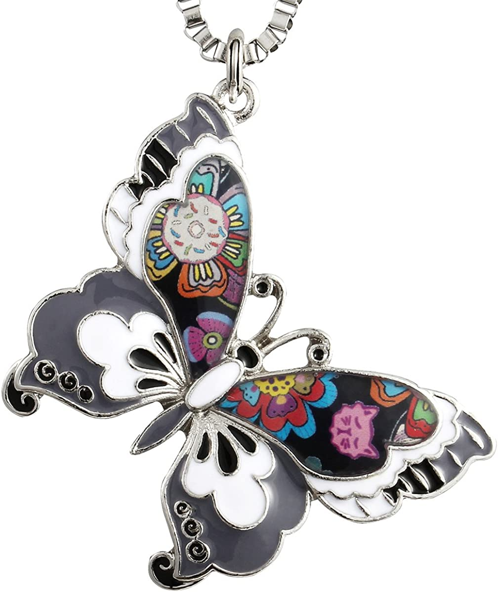Luckeyui Colorful Butterfly Necklaces & Pendants for Women Insect Jewelry Gift