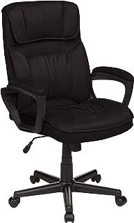 AmazonBasics Classic Office Desk Computer Chair - Adjustable, Swiveling, Ultra-Soft Microfiber - Black, Lumbar Support, BIFMA Certified