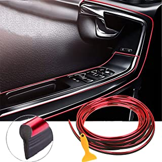 EJ's SUPER CAR Car Interior Moulding Trim, 16FT(5M) Electroplating Color Film Car Interior Exterior Decoration Moulding Trim Rubber Seal Protector Fit for Most Car(Red)