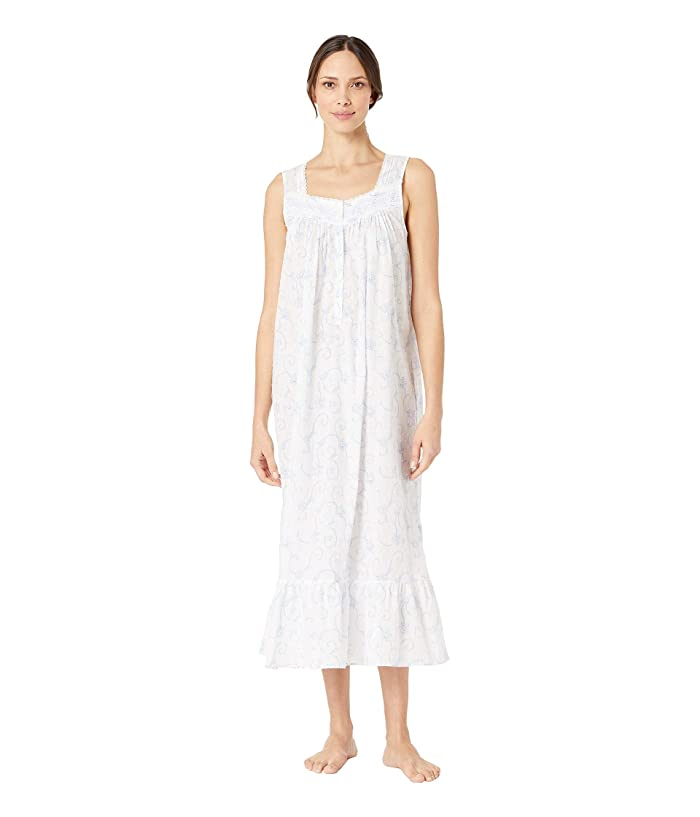Eileen West Cotton Woven Swiss Dot Sleeveless Ballet Nightgown (White Ground Floral Scroll) Women