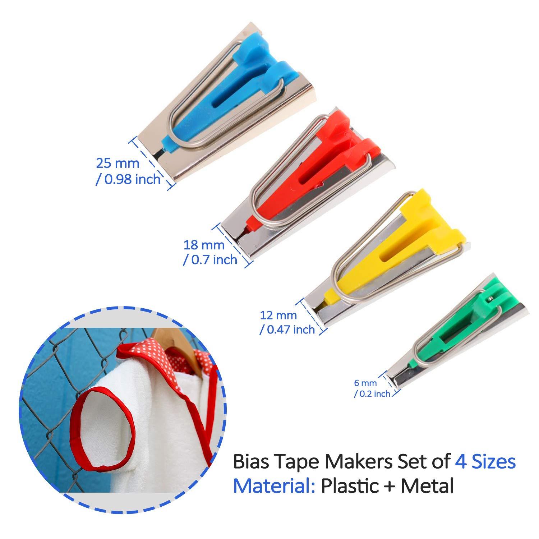 KRY Bias Tape Maker Bias Binding Maker Set para Coser y acolchar Kit de Herramientas de Acolchado de Cinta Bias para Patchwork de Bricolaje Colores Surtidos