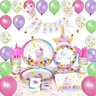 WERNNSAI Unicorn Party Supplies Set - Birthday Party Decorations for Girls Magical Unicorn Happy Birthday Banner Balloons Tablecloth Plates Cups Napkins Headband Utensils Serves 16 Guests 154 PCS