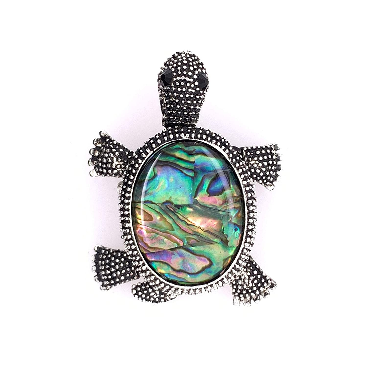 Jewelry Made By Me Coastal Sea Turtle Pendant Brooch Pin, Antique Silver