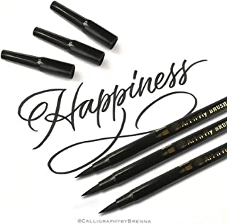 Art-n-Fly Dual Tip Black Brush Pens for Lettering Calligraphy Pen. Fine and Large Black Brush Marker for Drawing