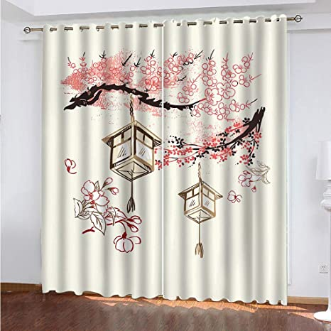 Syyclf 3d Blackout Curtains Eyelet Curtains Simple Plum Blossom Background 264 X 160 Cm 3d Curtains Opaque Set Of 2 Halloween Thermal Blackout Curtain With Eyelets Thermal Curtains For Living Room