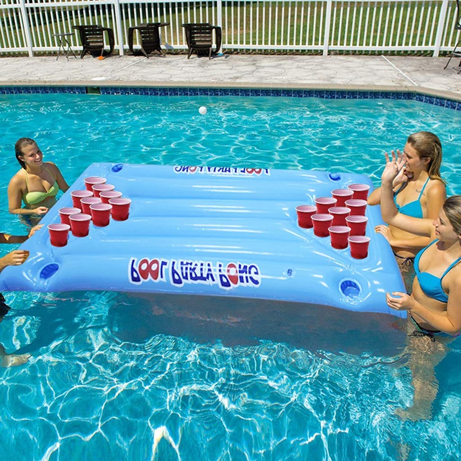 Inflatable Floating Beer Pong Table Raft Lounger  Aqua Pong ball Pool Party Game 24 Cups Holder