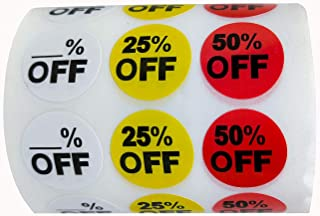 3/4 Inch Blank% Off 25% 50% Off Sale Price Stickers Labels Percent Off Stickers for Retail Store Clearance Promotion Discount Deals Circle Pricemarker Label(1,008PCS)
