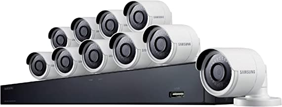 Samsung Wisenet SDH-C85100BF 16 Channel 4MP Super HD DVR Video Security System with 2TB Hard Drive and 10 4MP Weather Resistant Bullet Cameras (SDC-89440BF) - (Renewed)