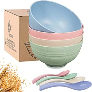 Amoued 4 Pcs Unbreakable Wheat Straw Bowls, 24 OZ Fiber Lightweight Cereal Bowl, Dishwasher & Microwave Safe, BPA FREE, So...