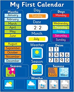 My First Magnetic Calendar - BLUE (also available in PINK). Rigid board 40 x 32cm with hanging loop
