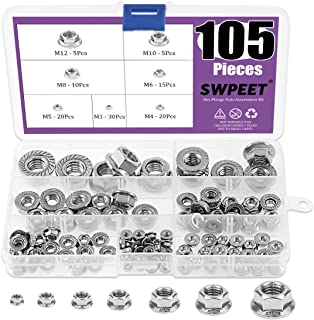Swpeet 105Pcs 304 Stainless Steel Serrated Metric Flange Nuts Hex Lock Nuts Assortment Kit, 7 Sizes - M3 M4 M5 M6 M8 M10 M12