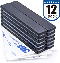 Waterproof Neodymium Bar Magnets with Epoxy Coating, Powerful Permanent Rare Earth Magnets, with Double-Sided Adhesive - 60 x 10 x 3mm, Pack of 12
