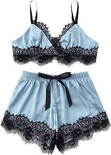 Women's Lace Trim Underwear Lingerie Straps Bralette and Panty Set