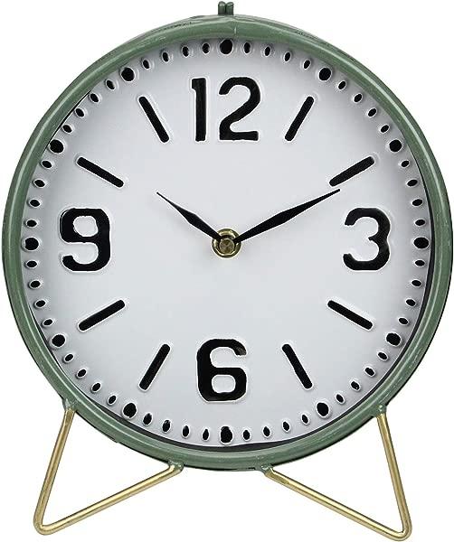 9 老式绿色圆形台钟带画架
