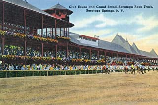 Saratoga Springs, New York - Racetrack View of Clubhouse, Band Stand (12x18 Fine Art Print, Home Wall Decor Artwork Poster)