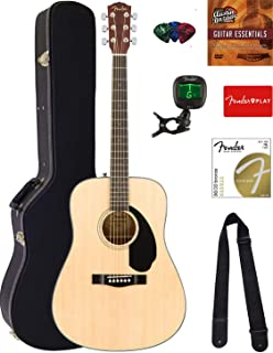 Best Fender CD-60S Solid Top Dreadnought Acoustic Guitar - Natural Bundle with Hard Case, Tuner, Strap, Strings, Picks, Austin Bazaar Instructional DVD, and Polishing Cloth Review