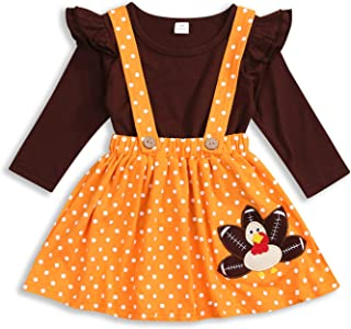 HAPPYMA Thanksgiving Outfits Toddler Baby Girl Skirts Sets Ruffle Top + Turkey Dot Overalls Suspender Dress Fall Winter Clothes 1-5T