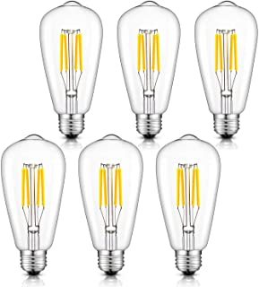CRLight 4W Dimmable 4000K LED Edison Bulb Daylight White, 400LM 40W Equivalent E26 Medium Base, ST64 Vintage Edison Style Clear Glass LED Filament Bulbs, Pack of 6