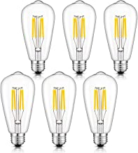 CRLight 4W 4000K Dimmable LED Edison Bulb Daylight White, 400LM 40W Incandescent Equivalent, Replace 8W Compact Fluorescent CFL Bulbs, E26 Base Vintage ST64 Clear Glass LED Filament Bulbs, 6 Pack